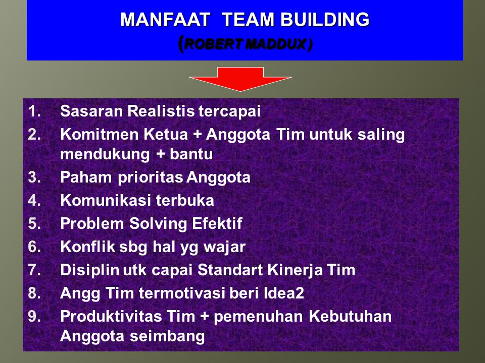 MANFAAT TEAM BUILDING (ROBERT MADDUX )