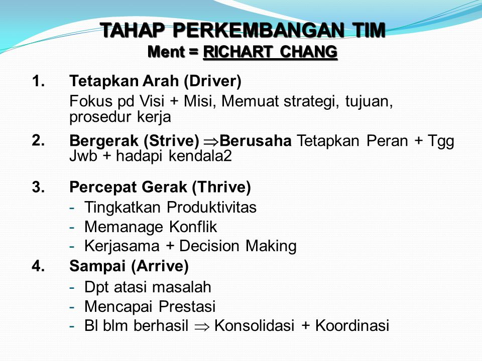 TAHAP PERKEMBANGAN TIM Ment = RICHART CHANG