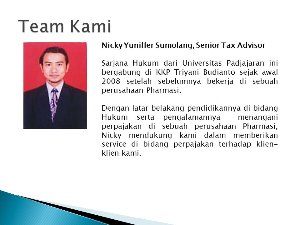 Team Kami Nicky Yuniffer Sumolang, Senior Tax Advisor