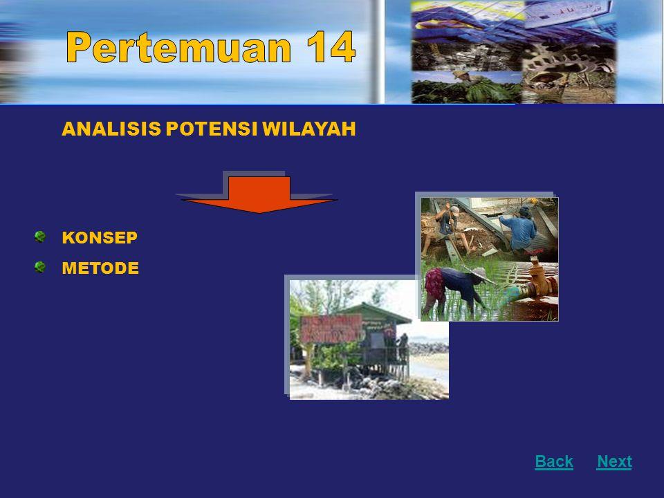 Pertemuan 14 Pertemuan 8 ANALISIS POTENSI WILAYAH KONSEP METODE Back