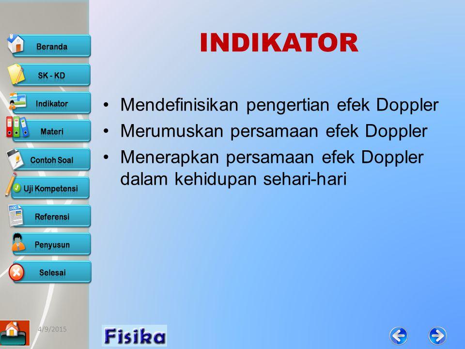 INDIKATOR Mendefinisikan pengertian efek Doppler