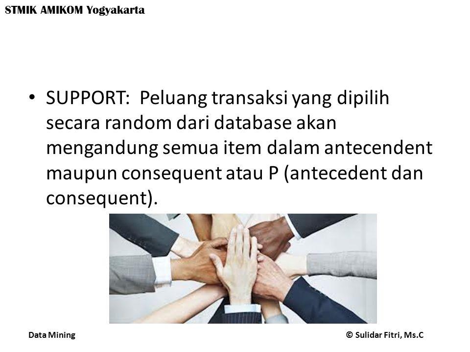 SUPPORT: Peluang transaksi yang dipilih secara random dari database akan mengandung semua item dalam antecendent maupun consequent atau P (antecedent dan consequent).