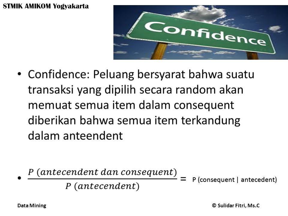 P (consequent | antecedent)