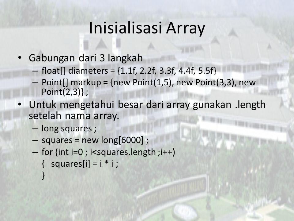 Inisialisasi Array Gabungan dari 3 langkah