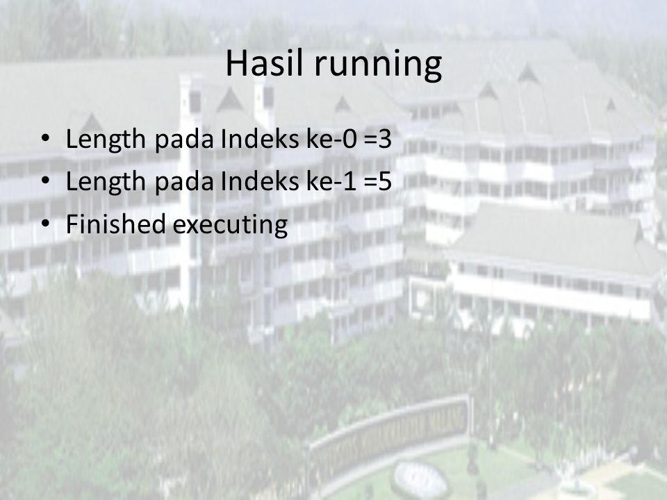 Hasil running Length pada Indeks ke-0 =3 Length pada Indeks ke-1 =5