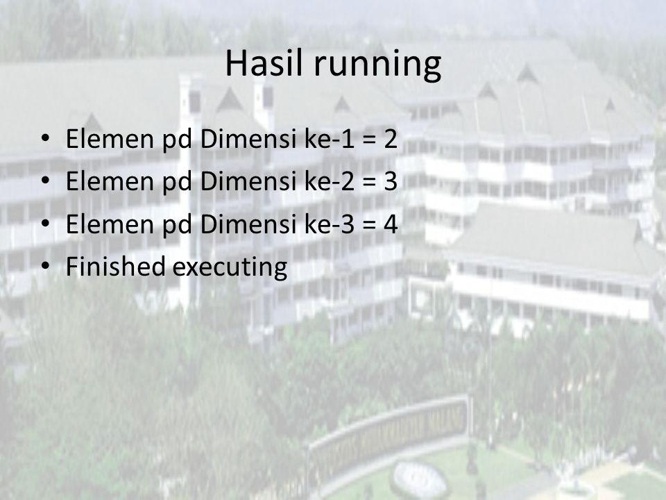 Hasil running Elemen pd Dimensi ke-1 = 2 Elemen pd Dimensi ke-2 = 3