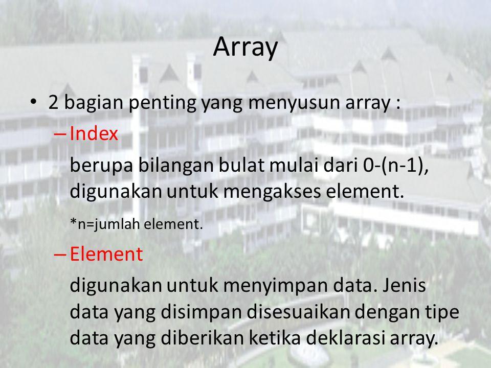 Array 2 bagian penting yang menyusun array : Index
