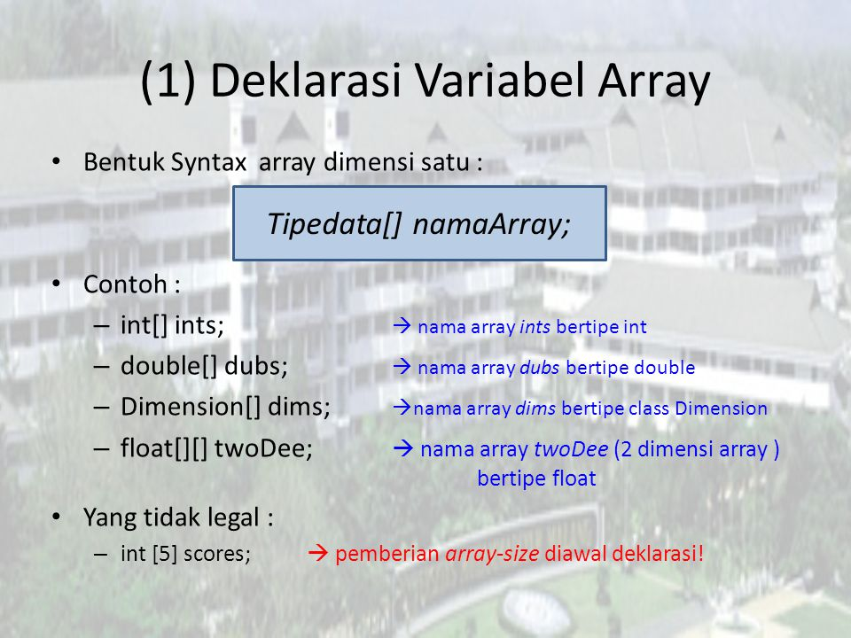 (1) Deklarasi Variabel Array