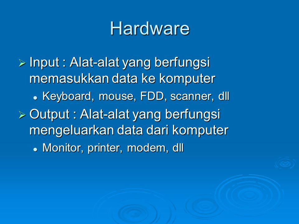 Hardware Input : Alat-alat yang berfungsi memasukkan data ke komputer