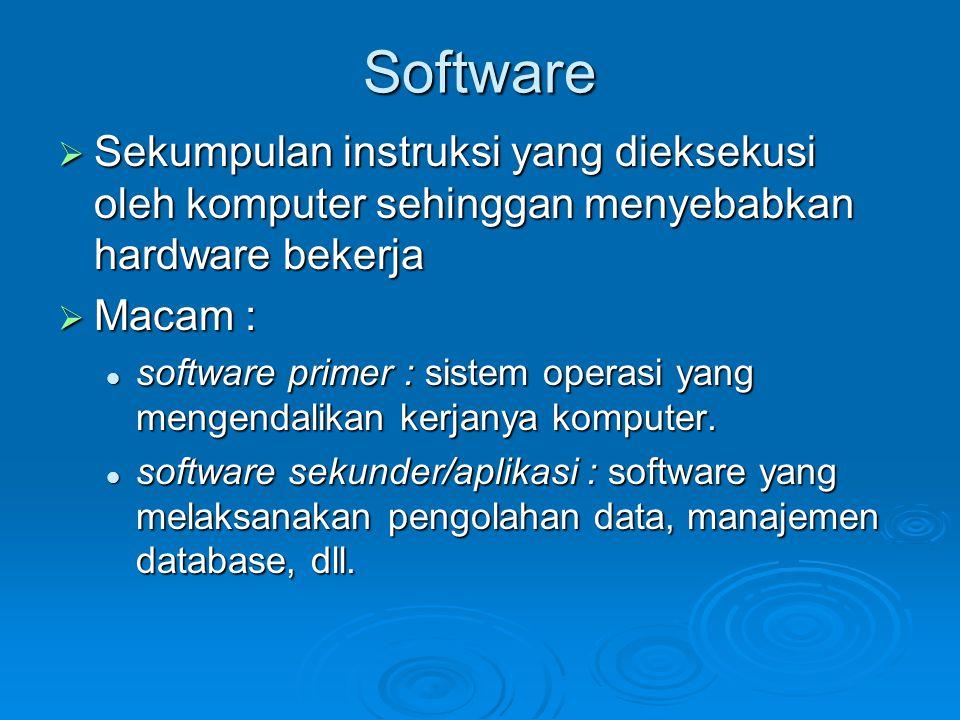 Software Sekumpulan instruksi yang dieksekusi oleh komputer sehinggan menyebabkan hardware bekerja.