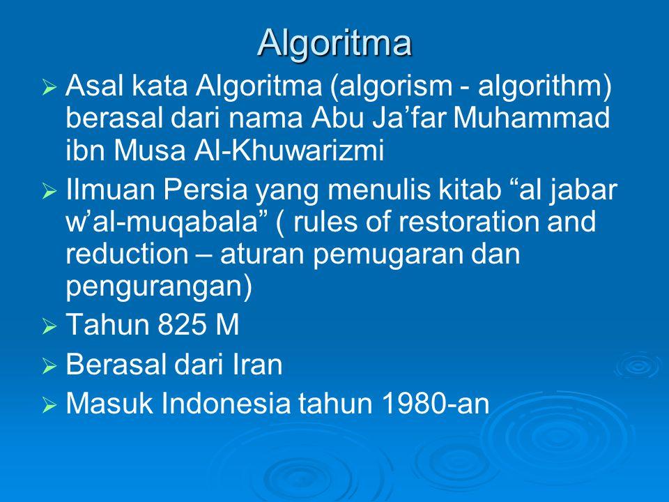 Algoritma Asal kata Algoritma (algorism - algorithm) berasal dari nama Abu Ja'far Muhammad ibn Musa Al-Khuwarizmi.