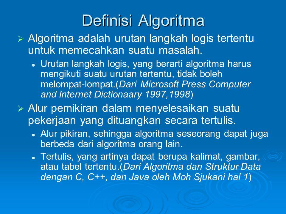 Definisi Algoritma Algoritma adalah urutan langkah logis tertentu untuk memecahkan suatu masalah.
