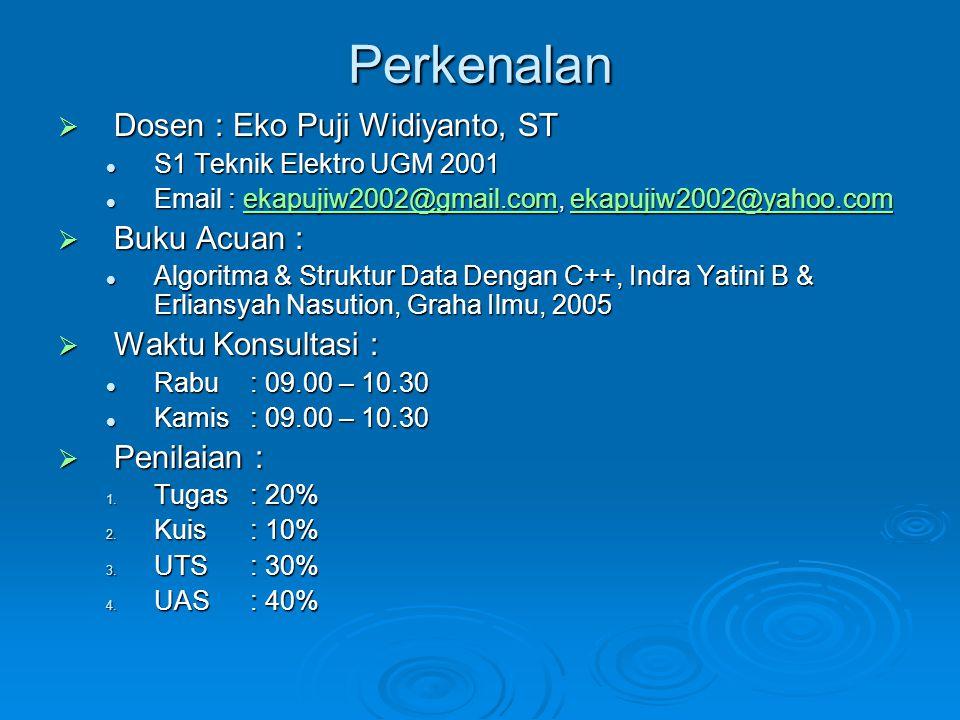 Perkenalan Dosen : Eko Puji Widiyanto, ST Buku Acuan :