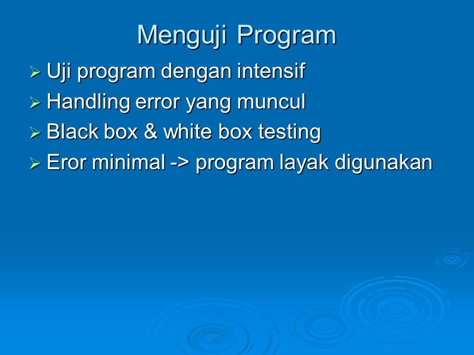 Menguji Program Uji program dengan intensif Handling error yang muncul