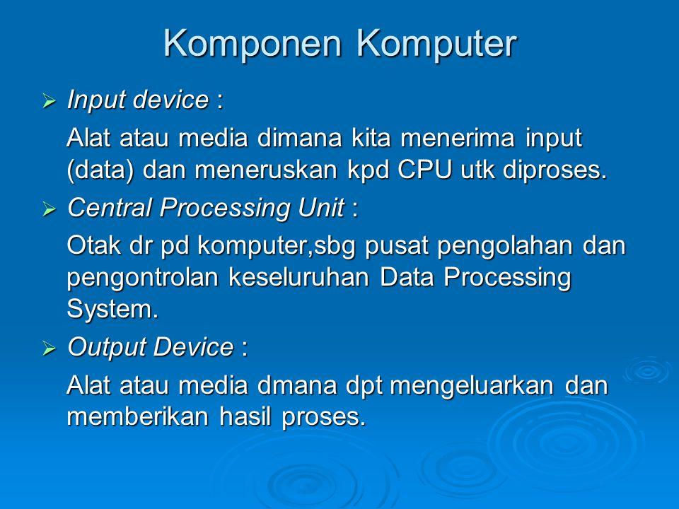 Komponen Komputer Input device :