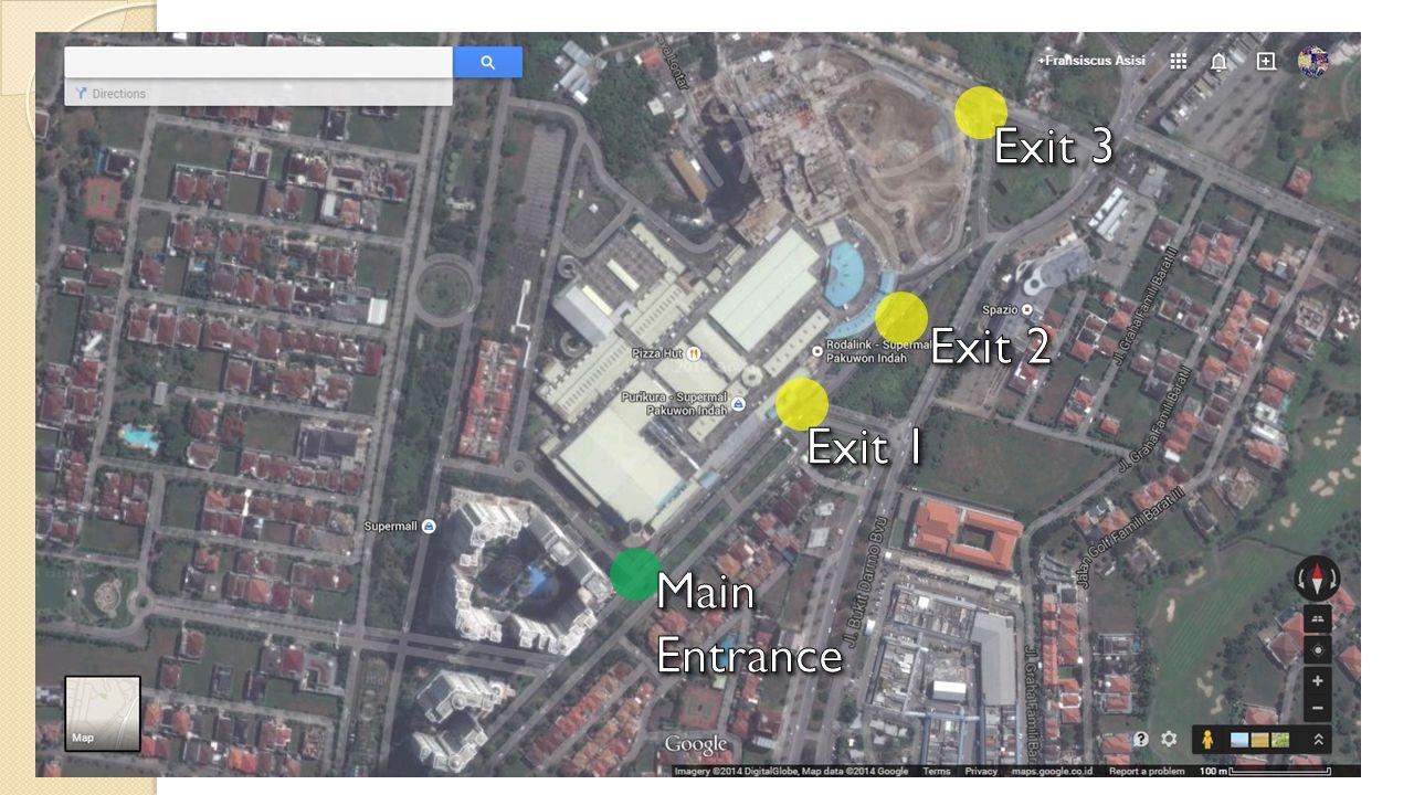 Exit 3 Exit 2 Exit 1 Main Entrance