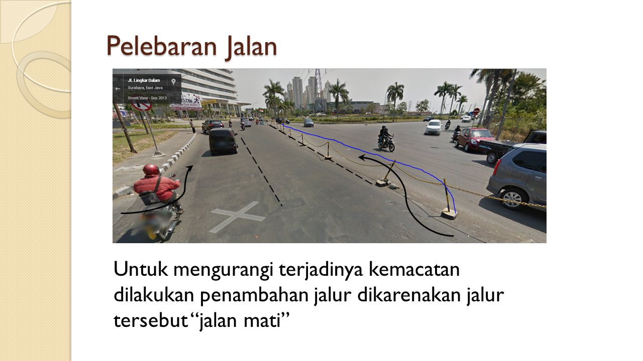 Pelebaran Jalan Untuk mengurangi terjadinya kemacatan dilakukan penambahan jalur dikarenakan jalur tersebut jalan mati