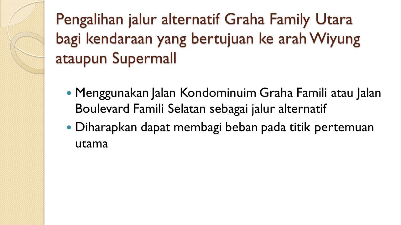 Pengalihan jalur alternatif Graha Family Utara bagi kendaraan yang bertujuan ke arah Wiyung ataupun Supermall