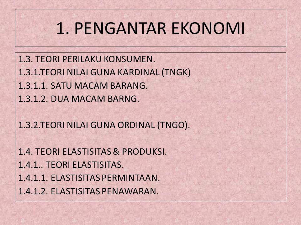 1. PENGANTAR EKONOMI 1.3. TEORI PERILAKU KONSUMEN.