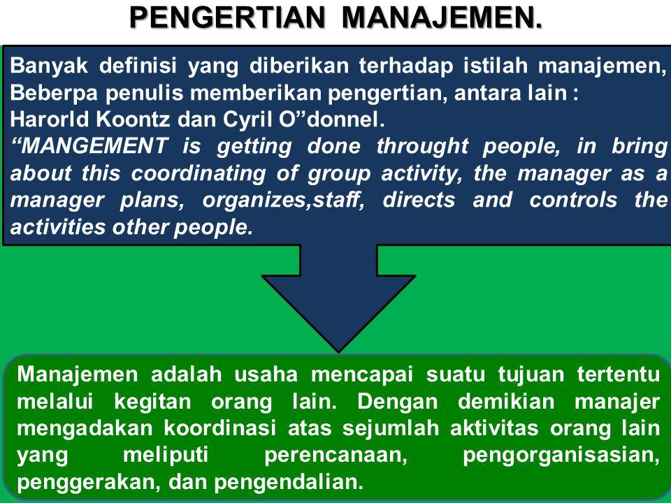 PENGERTIAN MANAJEMEN. g. Banyak definisi yang diberikan terhadap istilah manajemen, Beberpa penulis memberikan pengertian, antara lain :