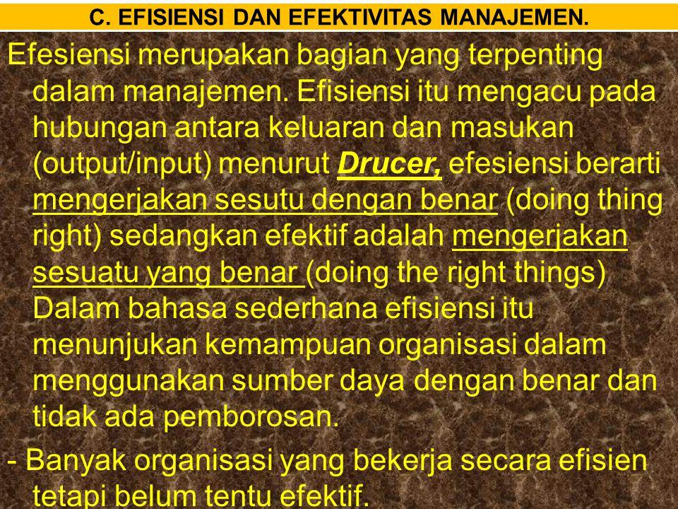 C. EFISIENSI DAN EFEKTIVITAS MANAJEMEN.