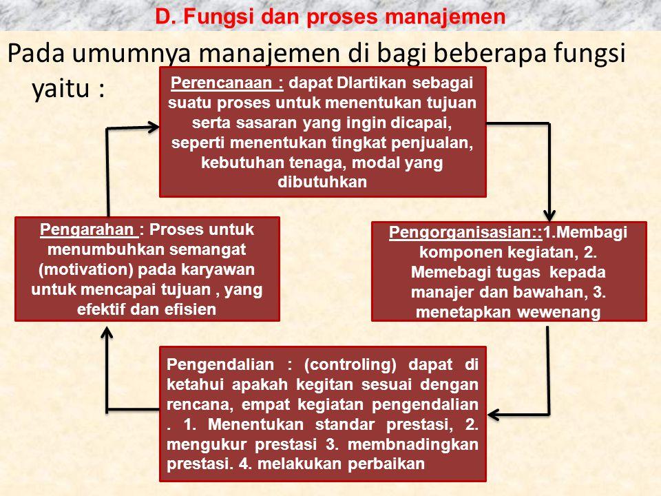 D. Fungsi dan proses manajemen
