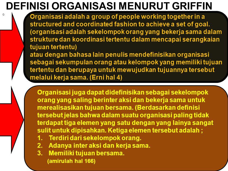 DEFINISI ORGANISASI MENURUT GRIFFIN
