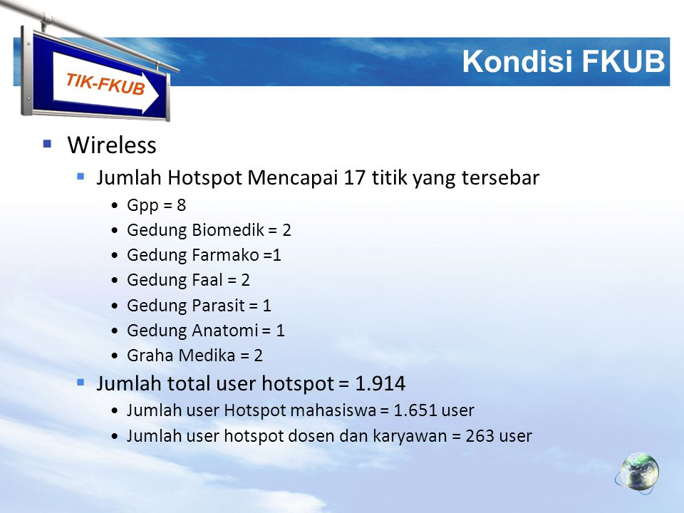 Kondisi FKUB Wireless Jumlah Hotspot Mencapai 17 titik yang tersebar