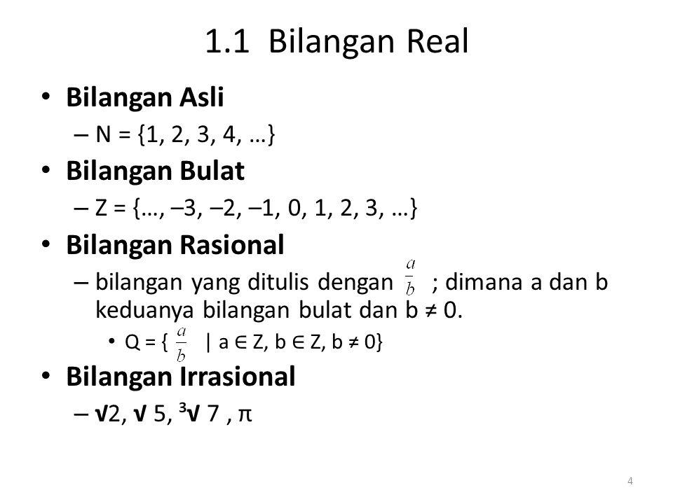 1.1 Bilangan Real Bilangan Asli Bilangan Bulat Bilangan Rasional