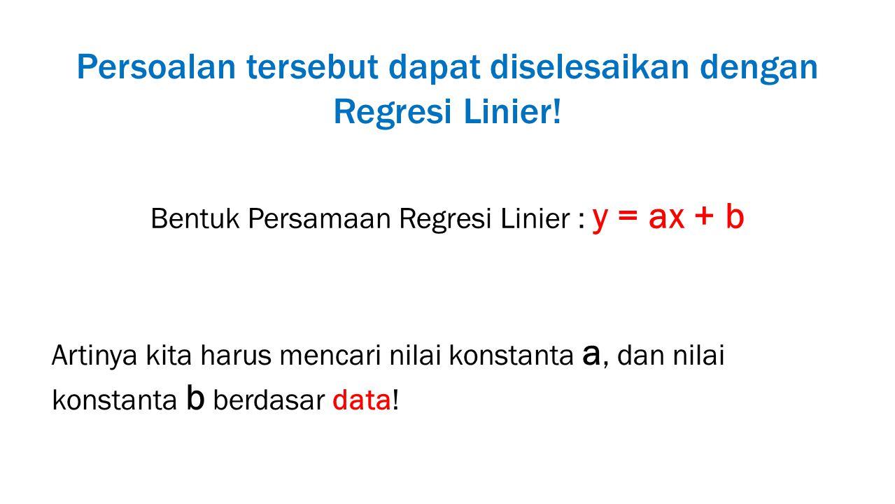 Persoalan tersebut dapat diselesaikan dengan Regresi Linier!