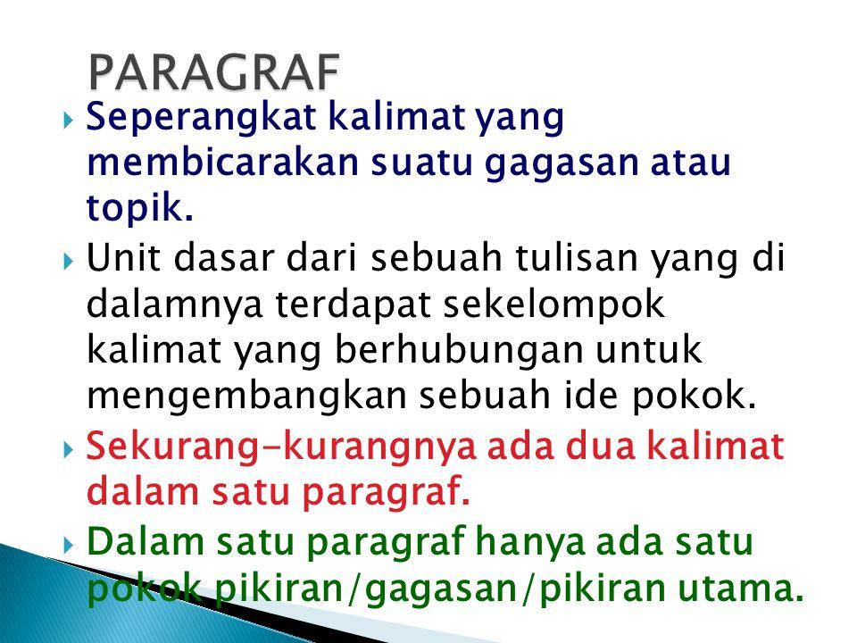 PARAGRAF Seperangkat kalimat yang membicarakan suatu gagasan atau topik.