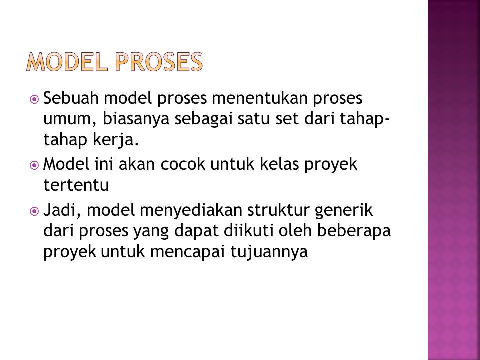 Model Proses Sebuah model proses menentukan proses umum, biasanya sebagai satu set dari tahap- tahap kerja.