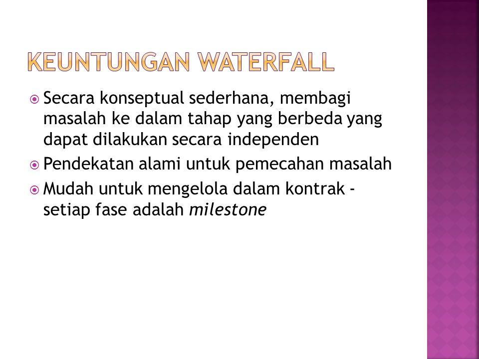Keuntungan Waterfall Secara konseptual sederhana, membagi masalah ke dalam tahap yang berbeda yang dapat dilakukan secara independen.