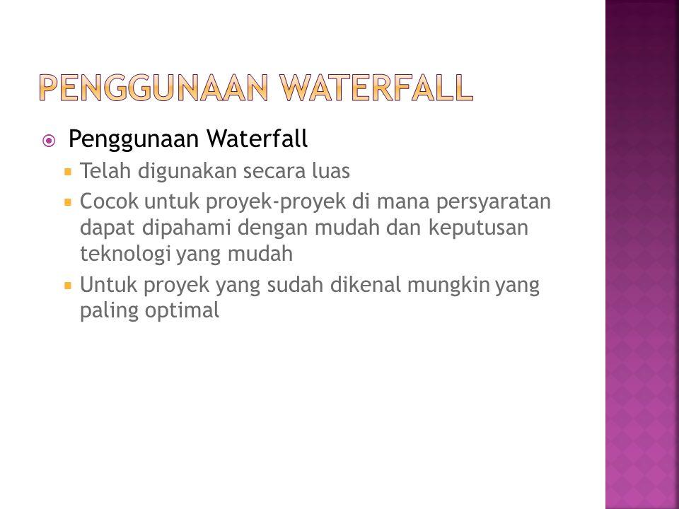 Penggunaan Waterfall Penggunaan Waterfall Telah digunakan secara luas