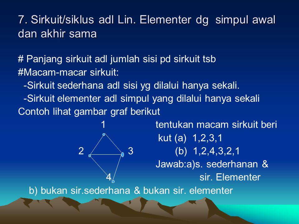 7. Sirkuit/siklus adl Lin. Elementer dg simpul awal dan akhir sama