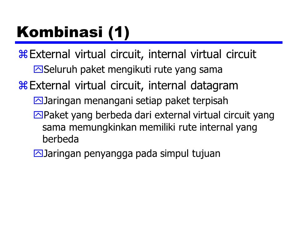 Kombinasi (1) External virtual circuit, internal virtual circuit