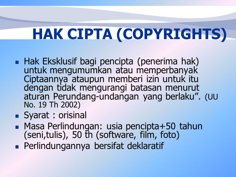 HAK CIPTA (COPYRIGHTS)