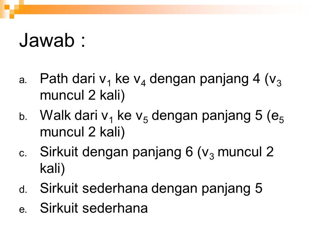 Jawab : Path dari v1 ke v4 dengan panjang 4 (v3 muncul 2 kali)