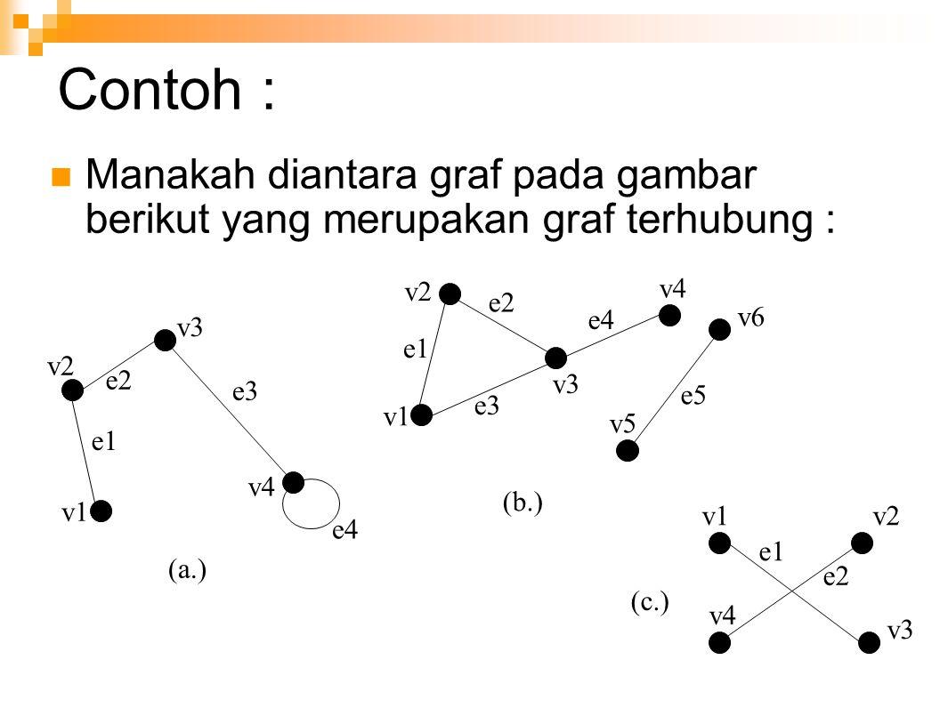 Contoh : Manakah diantara graf pada gambar berikut yang merupakan graf terhubung : v1. v2. e1. e2.