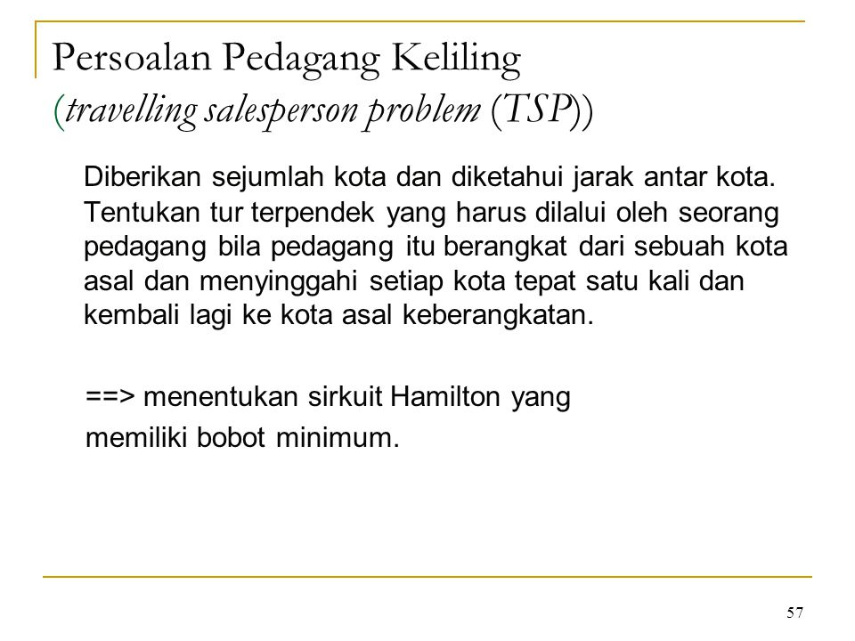 Persoalan Pedagang Keliling (travelling salesperson problem (TSP))