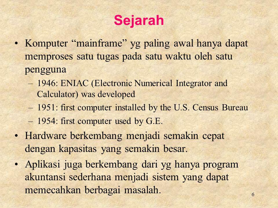 Sejarah Komputer mainframe yg paling awal hanya dapat memproses satu tugas pada satu waktu oleh satu pengguna.