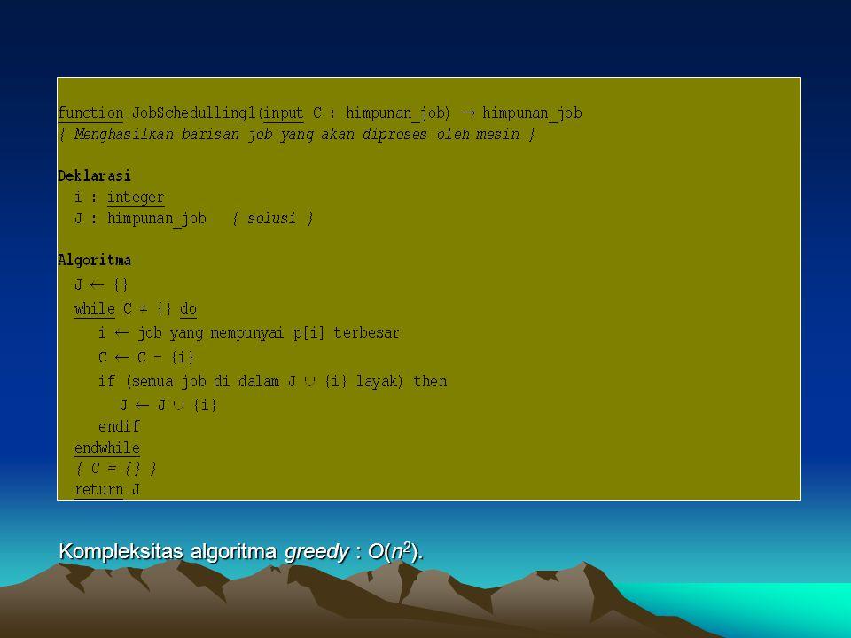 Kompleksitas algoritma greedy : O(n2).