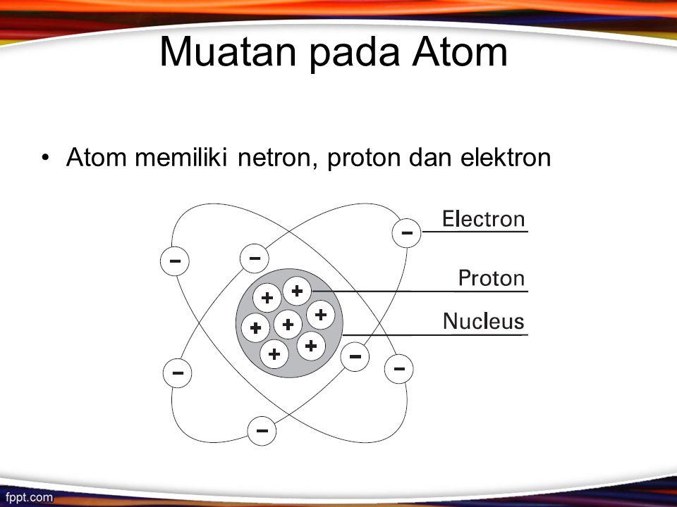 Muatan pada Atom Atom memiliki netron, proton dan elektron