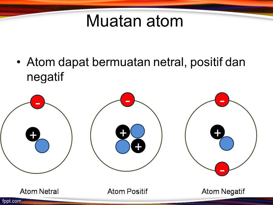 Muatan atom Atom dapat bermuatan netral, positif dan negatif
