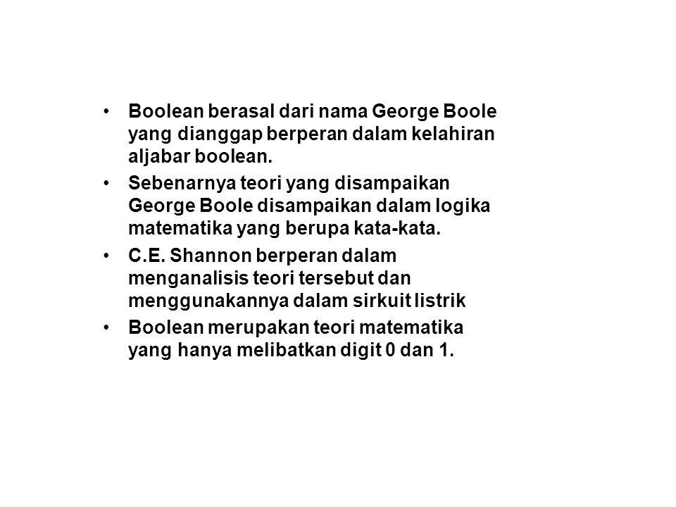 Boolean berasal dari nama George Boole yang dianggap berperan dalam kelahiran aljabar boolean.