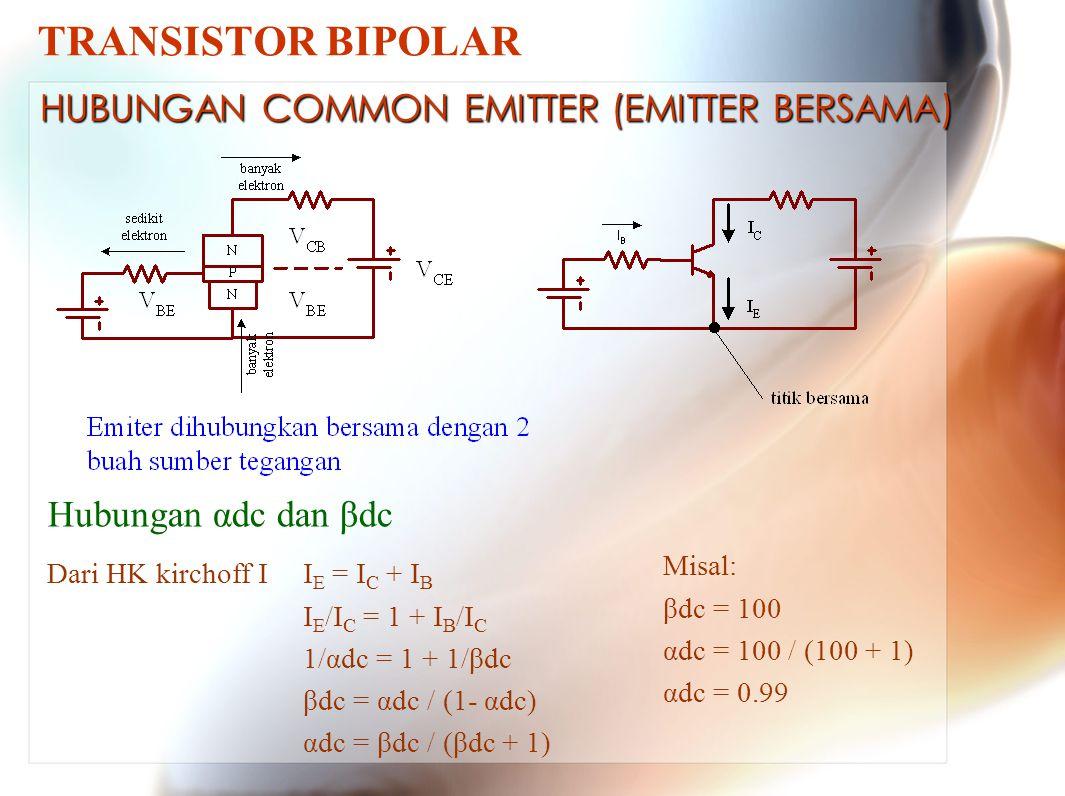 TRANSISTOR BIPOLAR HUBUNGAN COMMON EMITTER (EMITTER BERSAMA)