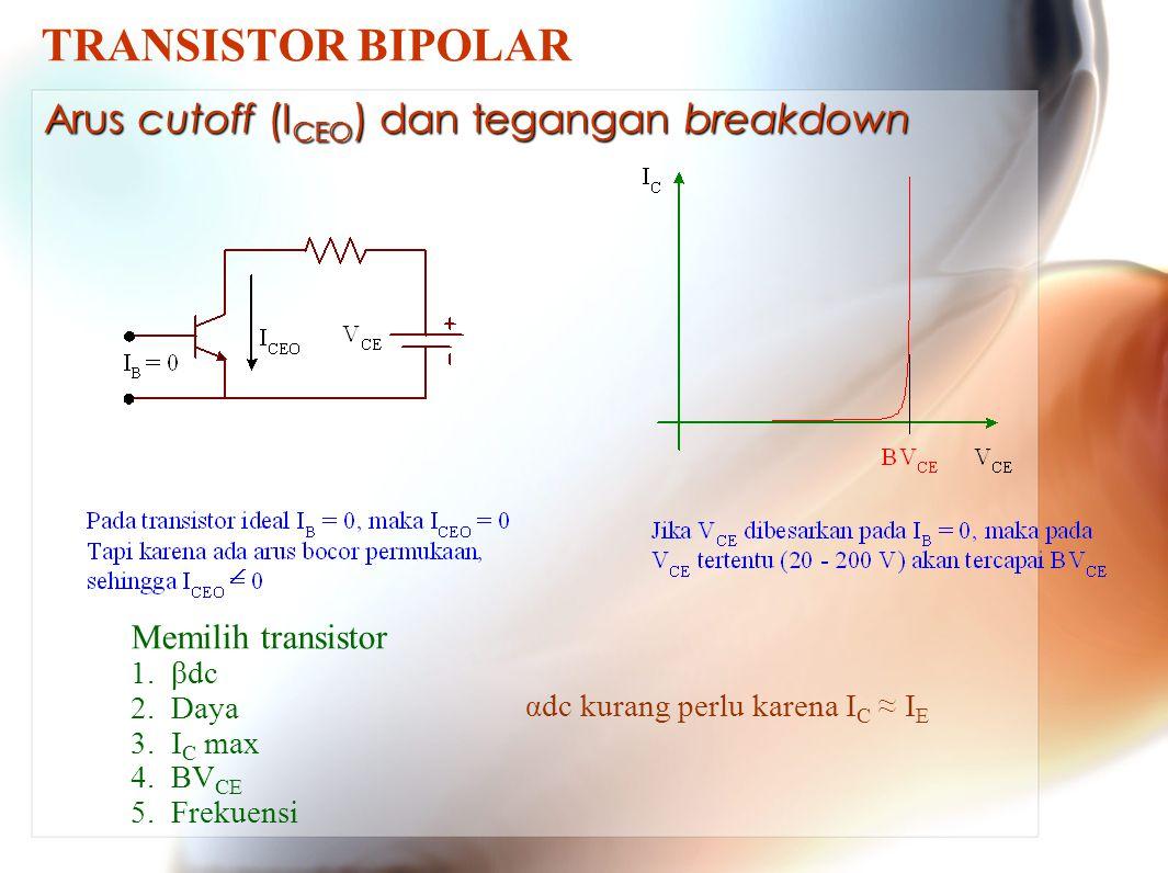 TRANSISTOR BIPOLAR Arus cutoff (ICEO) dan tegangan breakdown