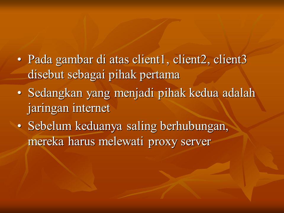 Pada gambar di atas client1, client2, client3 disebut sebagai pihak pertama