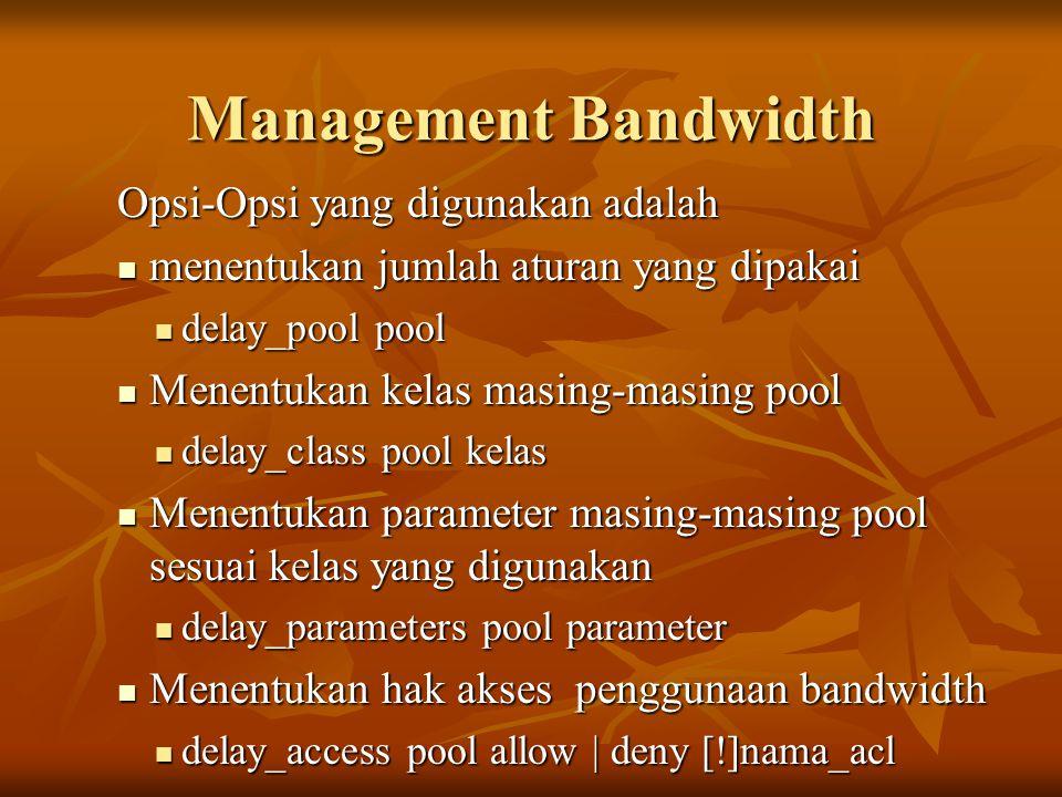 Management Bandwidth Opsi-Opsi yang digunakan adalah