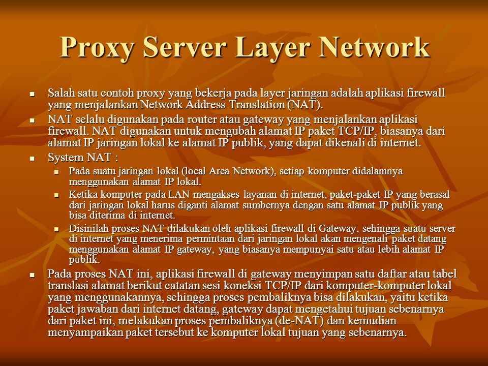 Proxy Server Layer Network